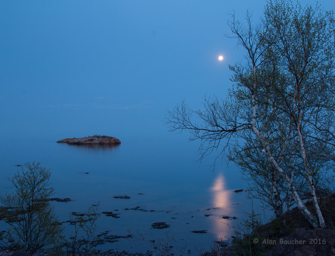 Full Moon Rising Over Lake Superior