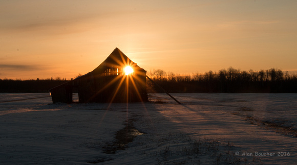 Sunburst through Old Barn